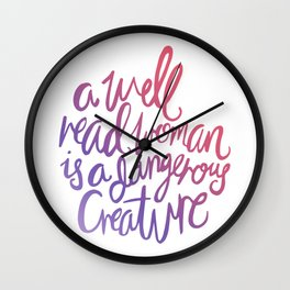 Well Read Woman - Girl Nerd Quote - Gradient Wall Clock