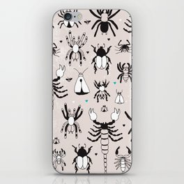 Creepy grunge insect and spider illustration pattern print iPhone Skin