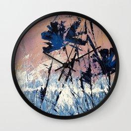 Abstract Flowers Blue Purple Field Lavender Landscape by Jodi Tomer Wall Clock