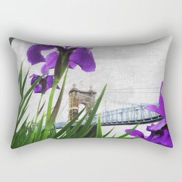 Roebling Suspension Bridge w Purple Iris Rectangular Pillow
