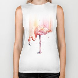 Flamingo Watercolor Flamingo Painting Biker Tank