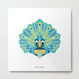 Sri Lanka Yaka Mask Peacock  Metal Print