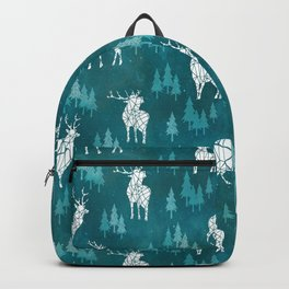 Ice Forest Deer Turquoise Backpack