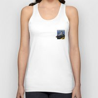 delorean Tank Tops featuring Delorean - Retro Poster; Blue by Geoff Ombao Car Art