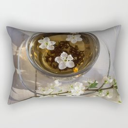 Tea. green Tea. Herbal tea. Mint leaf. Tea with apple flavor. Tea in a glass cup with apple blossoms Rectangular Pillow
