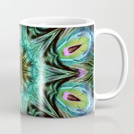 Colorful Peacock Feather Kaleidoscope Coffee Mug