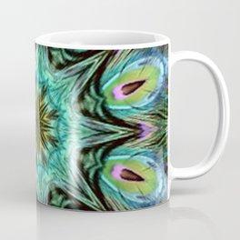 Colorful Peacock Feather Kaleidoscope Coffee Mug