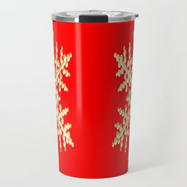 Snowflake in a Red Field Travel Mug
