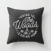arya Throw Pillows featuring Going to the Woods is Going Home by Kevin Arya