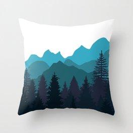 Blue Woods Throw Pillow