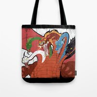 dungeons and dragons Tote Bags featuring DUNGEONS & DRAGONS - TIAMAT by Zorio