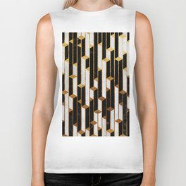 Marble Skyscrapers - Black, White and Gold Biker Tank