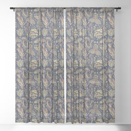 Midnight Fungus Sheer Curtain