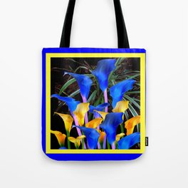 BLUE-BLACK MODERN ABSTRACT BLUE & GOLD CALLA LILIES Tote Bag