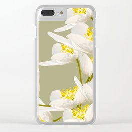 White Flowers On A Light Green Background #decor #buyart #society6 Clear iPhone Case