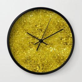 Faux gold geometric squares pattern Wall Clock
