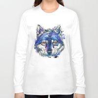 indigo Long Sleeve T-shirts featuring Indigo Wolf by Abby Diamond