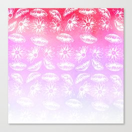 Modern hand painted lilac violet pink watercolor white floral Canvas Print