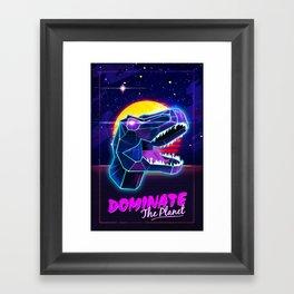Electric Jurassic Rex - Dominate the Planet Framed Art Print