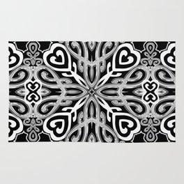 Black+White Ornate Hearts Rug