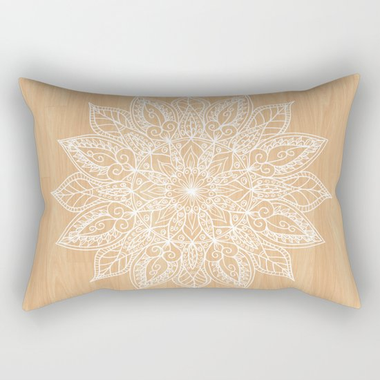 Leaf mandala - wood Rectangular Pillow