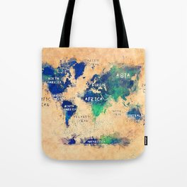 world map oceans and continents 4 Tote Bag