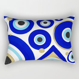 Evil Eye Charms on White Rectangular Pillow