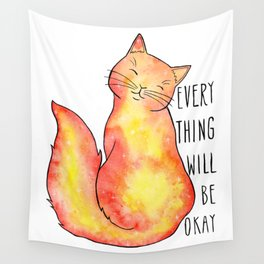 Everything Will Be Okay Orange Cat Wall Tapestry