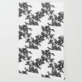 Black and White Leaf Toile Wallpaper