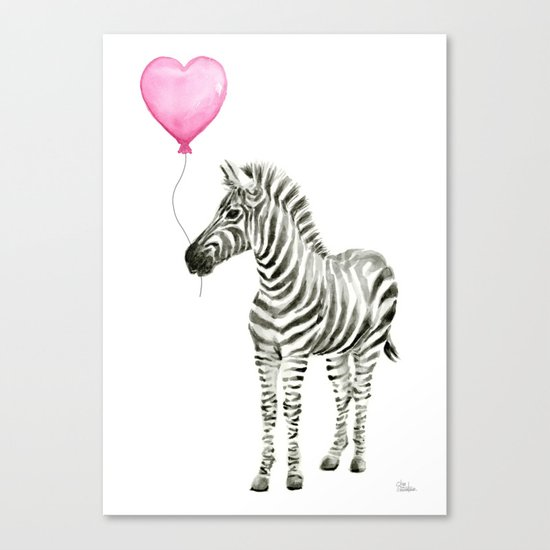 Zebra with Balloon Animal Watercolor Whimsical Animals Canvas Print
