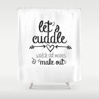 cuddle Shower Curtains featuring Let's cuddle by sparkle and glam designs