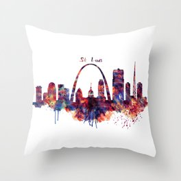 St Louis Watercolor Skyline Throw Pillow