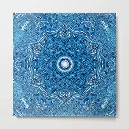 indigo blue white mandala Metal Print