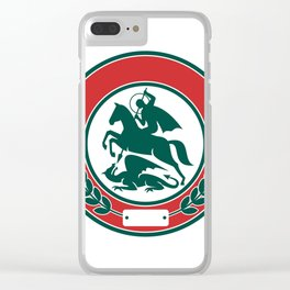 Saint George Slaying Dragon Circle Retro Clear iPhone Case
