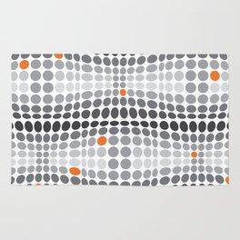 Dottywave - Grey and orange wave dots pattern Rug