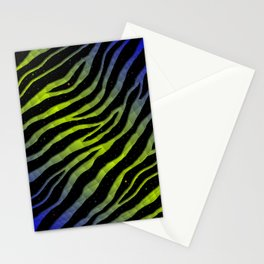 Ripped SpaceTime Stripes - Blue/Lime Stationery Cards