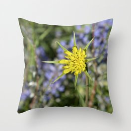 Yellow salsify wildflower against lupine Throw Pillow