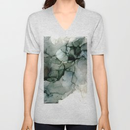 Charcoal Wisp: Original Abstract Alchol Ink Painting Unisex V-Neck