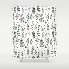 Gnome Pine Pattern Shower Curtain