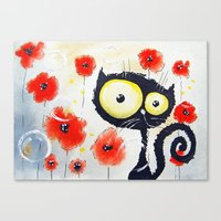 poppies Canvas Prints featuring Poppies  by Katja Main