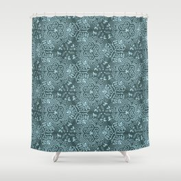 Hand-Drawn Symmetric Teal floral Shower Curtain