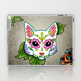 White Cat - Day of the Dead Sugar Skull Kitty Laptop & iPad Skin