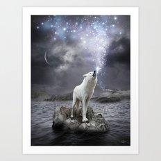 Stars Lie Hidden (Wolf Galaxy) Art Print