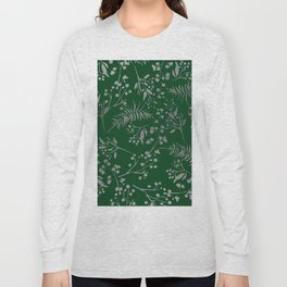 Forest green country chic faux silver floral leaves Long Sleeve T-shirt