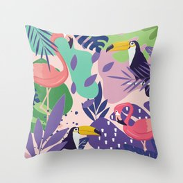Tropical Jungle With Flamingos And Toucans Memphis Style Throw Pillow