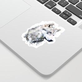 Watercolour grey wolf portrait Sticker