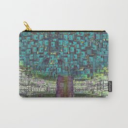 Tree Town - Magical Retro Futuristic Landscape Carry-All Pouch