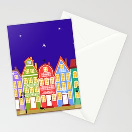 Cute Night Town Cartoon Houses Stationery Cards