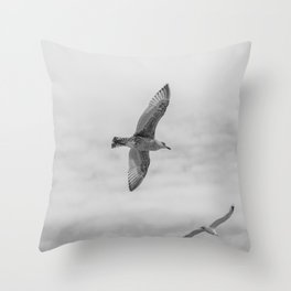 seagull in grey Throw Pillow