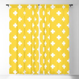 White Swiss Cross Pattern on Yellow background Blackout Curtain